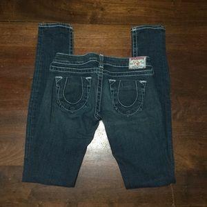 True Religion Womens Skinny Jeans Dark Wash 26x35